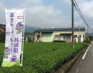 茶畑(手前)とお茶工場(奥)の間が当園入り口です